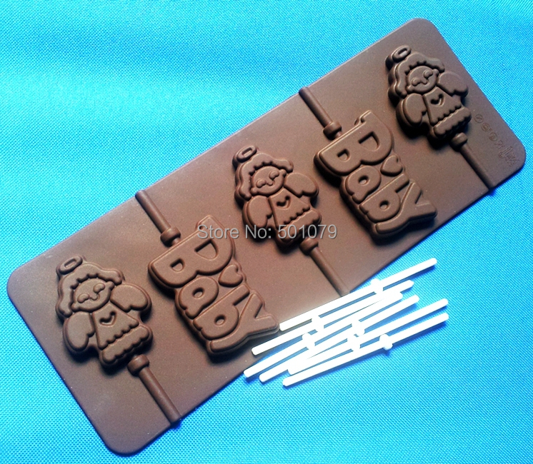 Nový styl (2ks / lot) Silikonový lízátko Forma 5 Andělská Baby čokoládová forma Ručně vyráběná sušenka Forma pro kutily