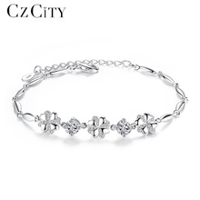 CZCITY Brand Cubic Zirconia 925 Sterling Silver Bracelet for Women Genuine 925 Silver Charm Flower Chain Link Bracelet Jewellry