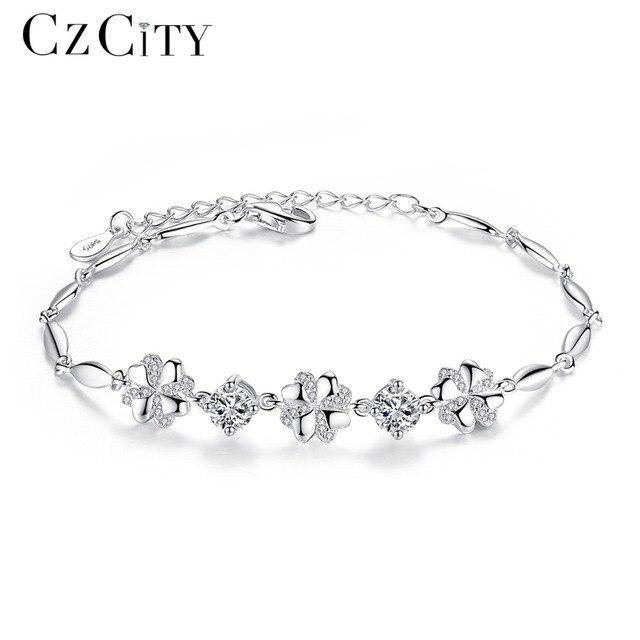 Czcity Brand Cubic Zirconia 925 Sterling Silver Bracelet For Women Genuine Charm Flower Chain