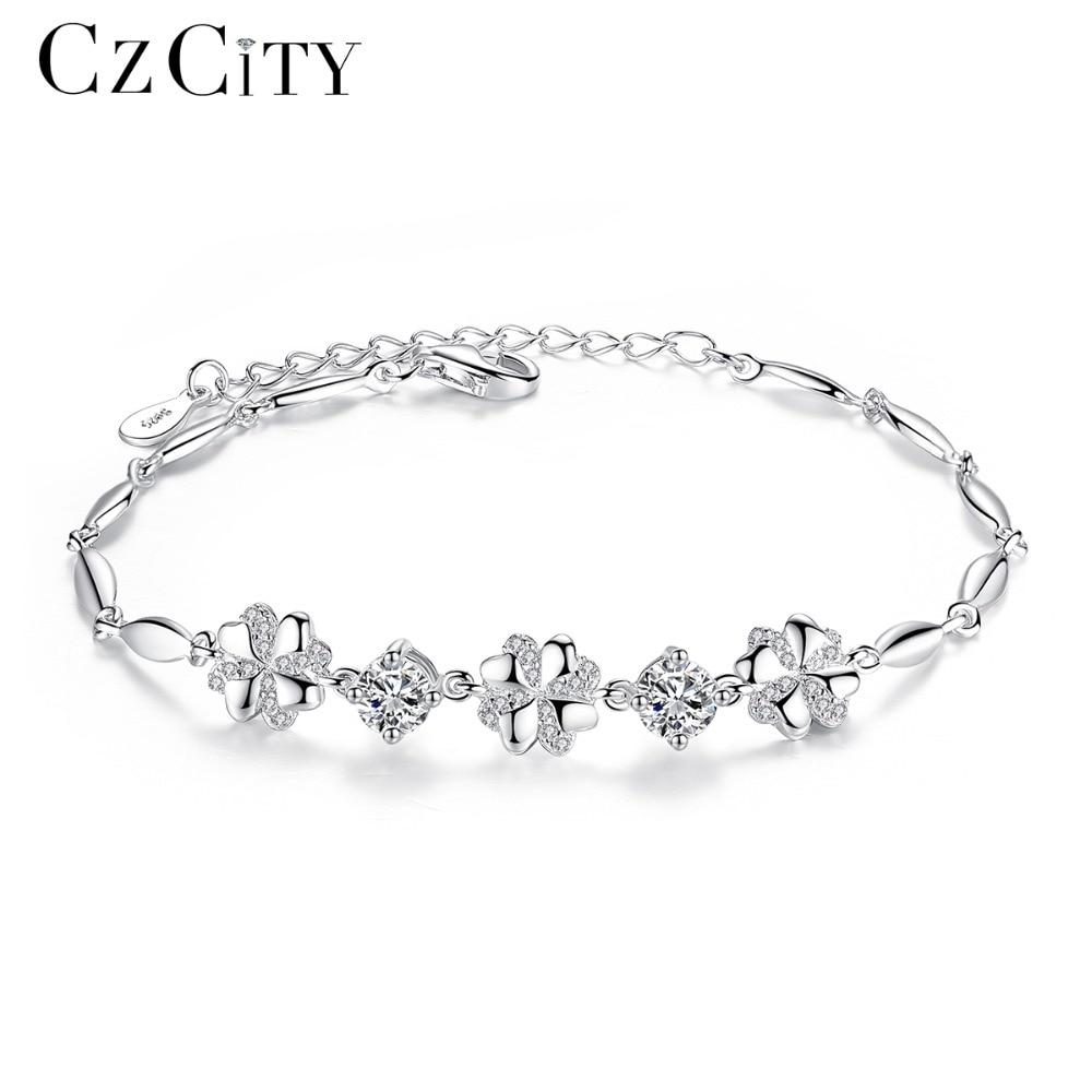 CZCITY Marque Cubique Zircon 925 Sterling Bracelet En Argent pour les Femmes Véritable 925 Argent Charme Fleur Chaîne Lien Bracelet Jewellry