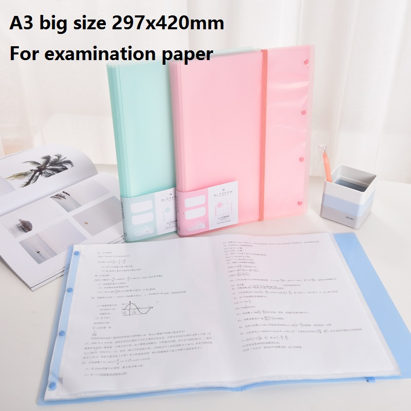Big Size A3 30 40 Pockets File Folder For Documents Examination Paper Clear Book Filing Products School Office Deli 72478