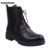 TIANMIMI Fashion Black Platform Ankle Boots For Women 2018 Winter Booties Dr Martens Flat Shoes Lace Up Combat Motorcycle Boots