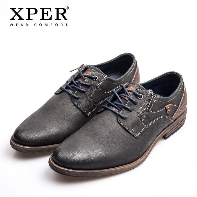 XPER חדש לגמרי גברים שמלת נעליים בתוספת גודל 40-48 פנאי עסקי עור נעלי זכר נוחות שרוכים הנעלה אפור חם # XHY11605GR