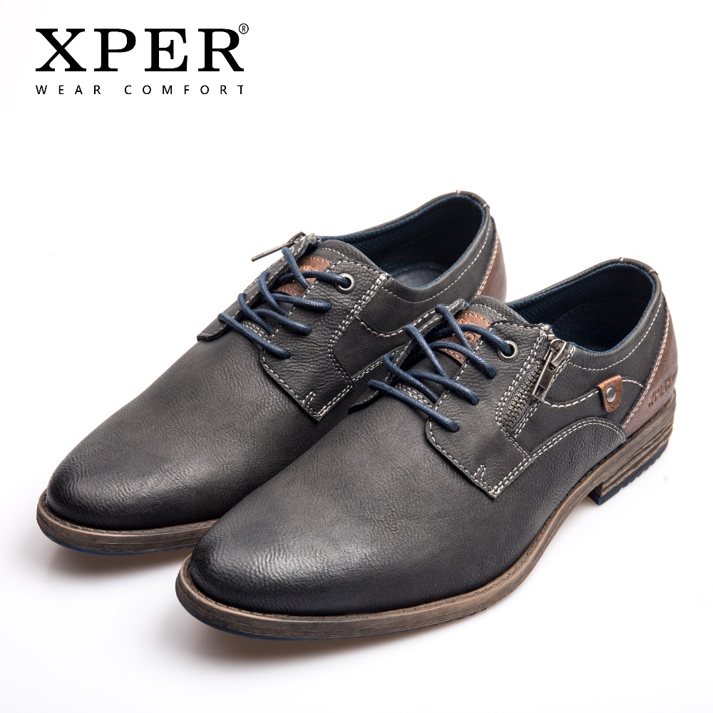 XPER Brand New Men Dress Shoes Plus Size 40-48 Leisure Business Leather Shoes Male Comfort Lace-Up Footwear Gray Hot #XHY11605GR hot sale mens genuine leather cow lace up male formal shoes dress shoes pointed toe footwear multi color plus size 37 44 yellow