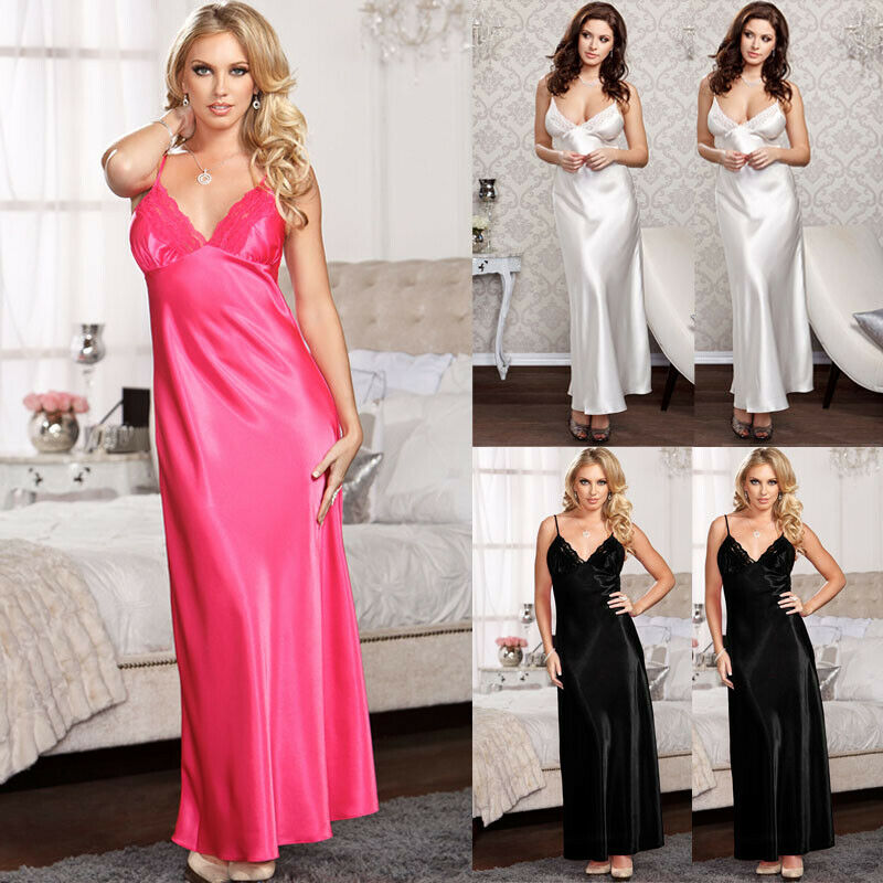 <font><b>Sexy</b></font> Women Lace Satin Lingerie <font><b>Night</b></font> <font><b>Dress</b></font> Sleepwear <font><b>Night</b></font> Gown Soft Long Babydoll <font><b>Dress</b></font> Silk Robe image