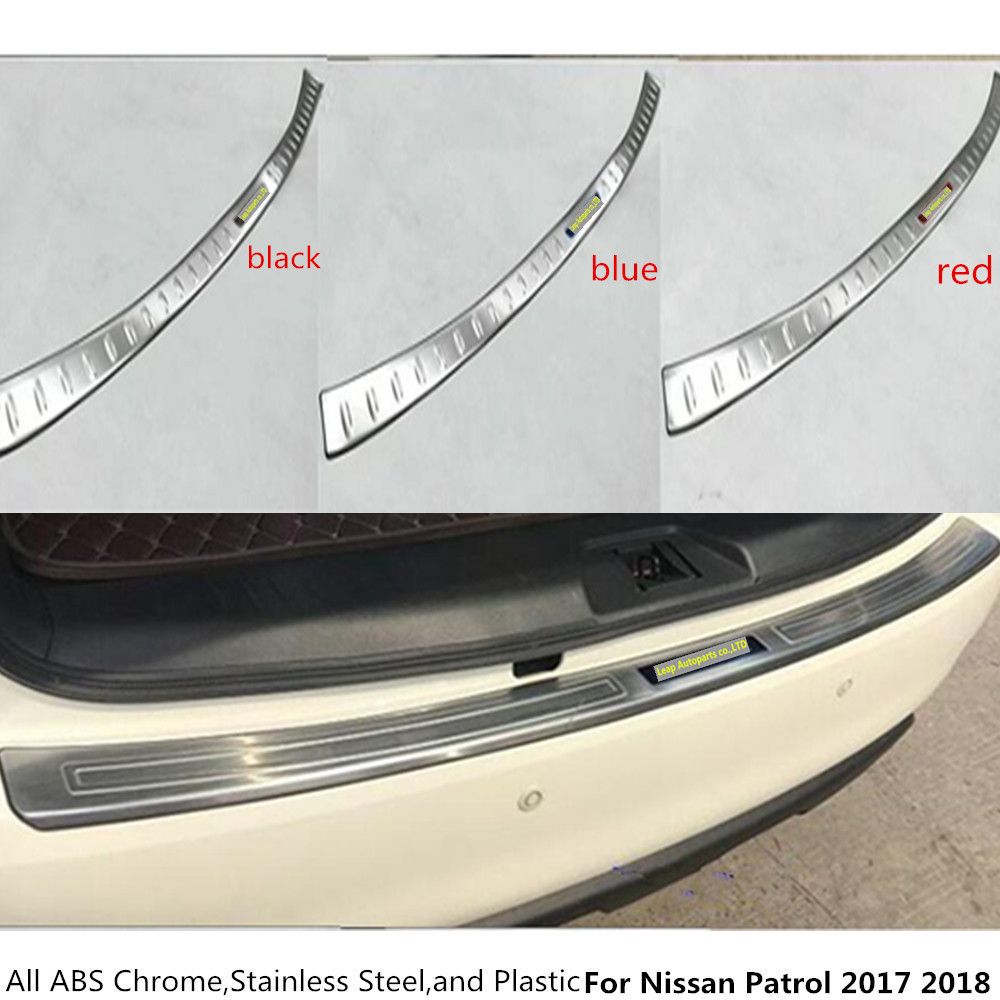 High quality For Nissan Patrol 2017 2018 Stainless steel Back Rear Pedal Door Scuff Plate Frame outside Threshold Trunk 1pcs car cover stainless steel outside rear bumper strip trim plate lamp frame threshold pedal 1pcs for toyota corolla 2008 2010