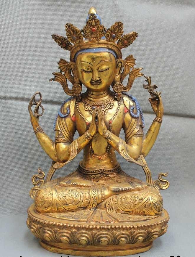 18 Tibet Buddismo Tibetano Bronzo Dorato 4 arms Cenresi Buddha Avalokiteshvara18 Tibet Buddismo Tibetano Bronzo Dorato 4 arms Cenresi Buddha Avalokiteshvara