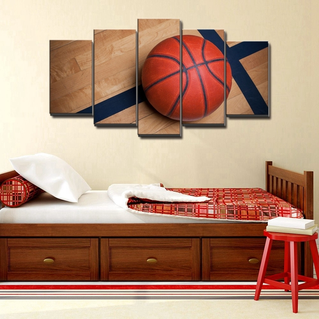 Charming Basketball Sports Canvas Wall Art For Boys Bedroom Decor Kids Room Vintage Sports  Art Baskeball Decor