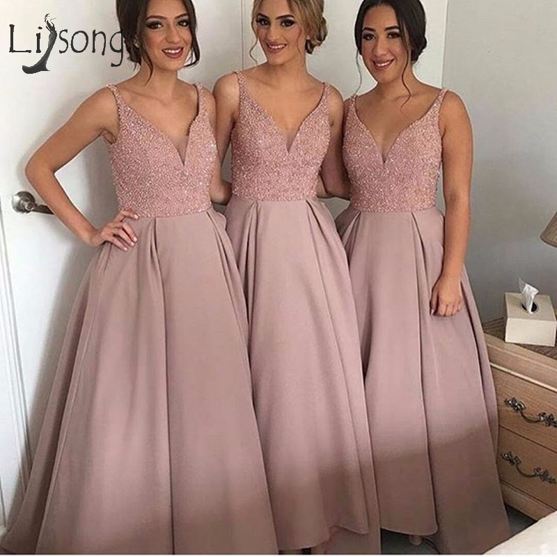Luxury Beaded Dusty Pink Bridesmaid Dresses To Wedding Party Shiny Crystal High Low Prom Gowns Honor