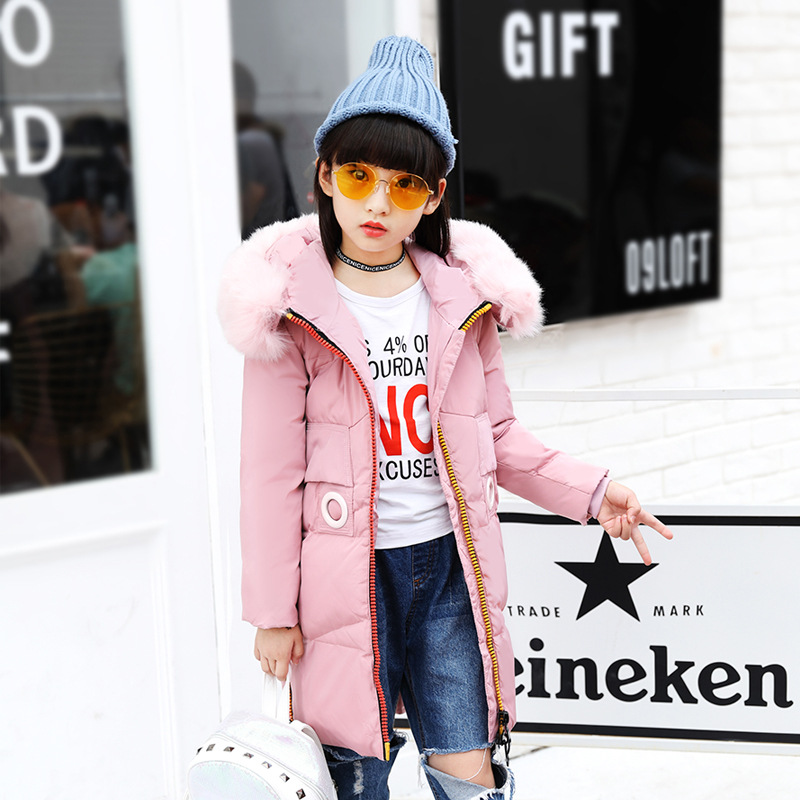 2018 New Fashion Girls 'down Jacket Long Children Winter Thick Jacket Coats Girls Parkas Warm Teenage Girls Winter Outwear Coat girls down jacket long in the new fashion winter 2017 female children upset han edition tide leisure coat
