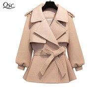 QSC Весна осень зима пальто Для женщин ремень 2018 модное пальто женское пальто Короткие Тонкий смесь шерстяная Верхняя одежда NZ13