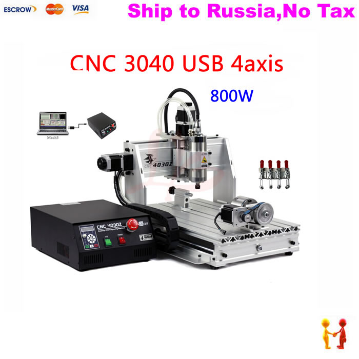 (NO TAX TO Russia) 4axis CNC machinery wood drilling router mach3 control Ball screw with USB port no tax to russia 4axis cnc metal engraving machine 8060 rotary axis 2 2kw spindle ball screw wtih mach3 remote control