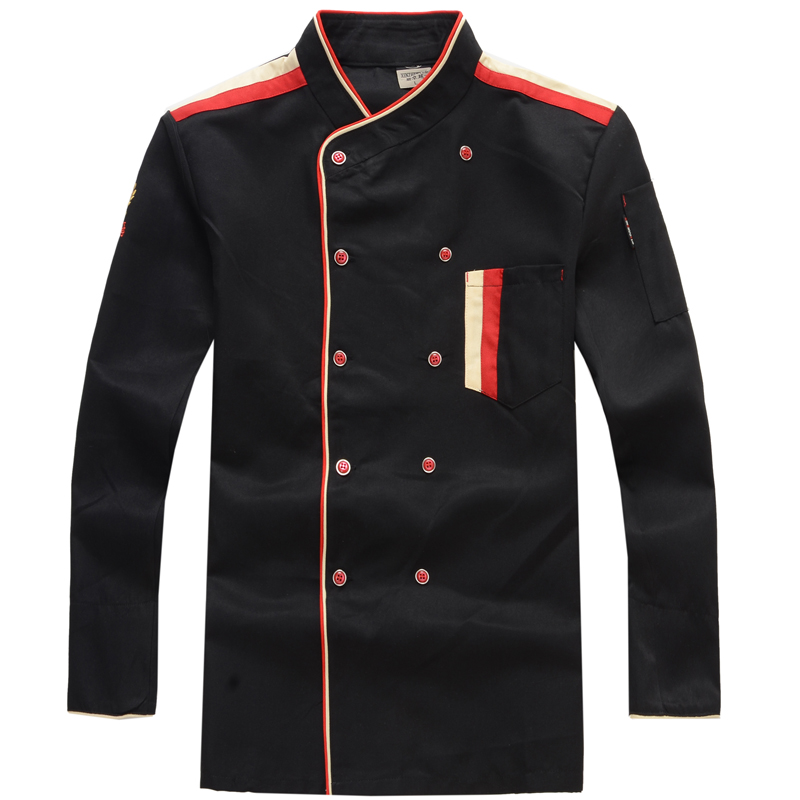 Chef's Uniform  Long Sleeve Work Wear  Western Restaurant Hotel Kitchen Uniform Hotel Chef Uniform Black/red/white