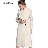 BURDULLY 100% Шерстяное пальто Для женщин зима 2018 Новые поступления Длинная Верхняя одежда белые элегантные куртки пальто теплое abrigos де mujer elegantes