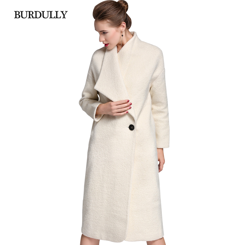 BURDULLY 100% Wool Coat Women Winter 2019 New Arrivals Long Outwear White Elegant Jackets Coat Warm abrigos de mujer elegantes