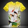 Бесплатная доставка Летом старинные футболка 5xl плюс размер мужской одежды мужской с коротким рукавом Футболки Китайский стиль тонкий хлопок футболки
