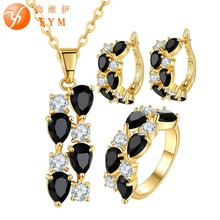 FYM Brand Yellow Gold Plated Jewelry Set Black Zirconia Crystal Necklace Earrings Ring Sets bride wedding Jewelry Set femme fym clear white cubic zirconia jewelry sets yellow gold plated crystal pendant necklace earrings ring sets for women wedding