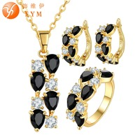 FYM Brand Yellow Gold Plated Jewelry Set Black Zirconia Crystal Necklace Earrings Ring Sets Bride Wedding