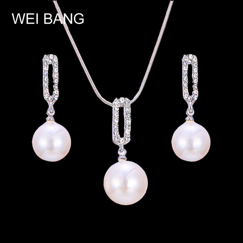 Imitation Pearl Earrings Pendant Necklace Set Women Wholesale Shinning Crystal Exquisite Silver Jewelry Sets Drop Shipping