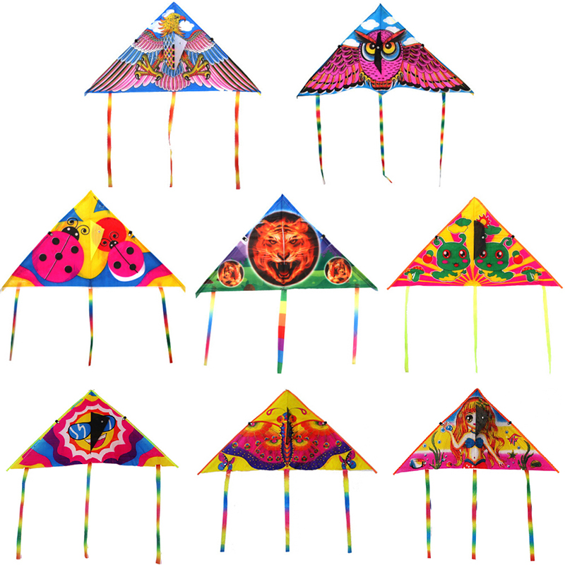 1Pc Cartoon Kite Foldable Flying Kite Children Kids Sport Toys Without Control Bar And Line Outdoor High Quality