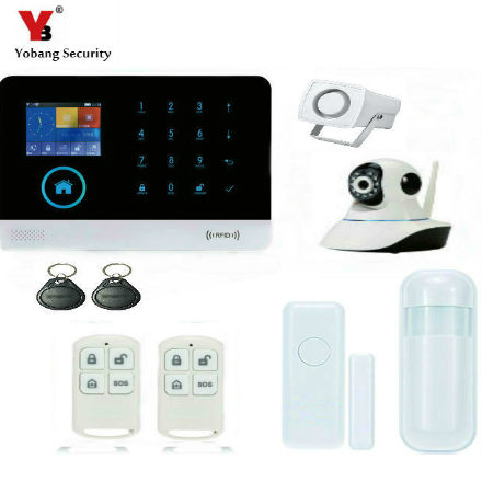 YobangSecurity Touch Screen Keypad WIFI GSM GPRS Wireless Home Burglar Security Alarm System IP Camera Siren IOS Android APP yobangsecurity gsm wifi burglar alarm system security home android ios app control wired siren pir door alarm sensor