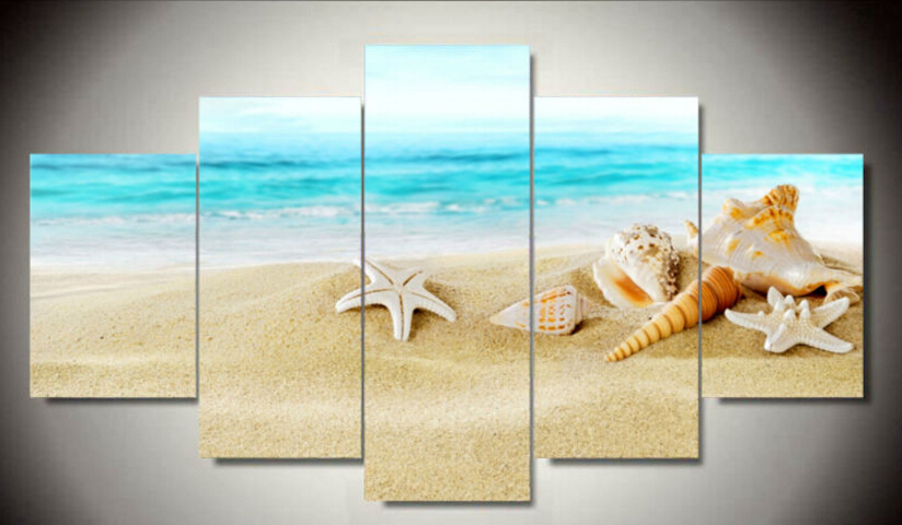 Painting By Numbers Free Shipping Sandy Beach Painting On Canvas ...