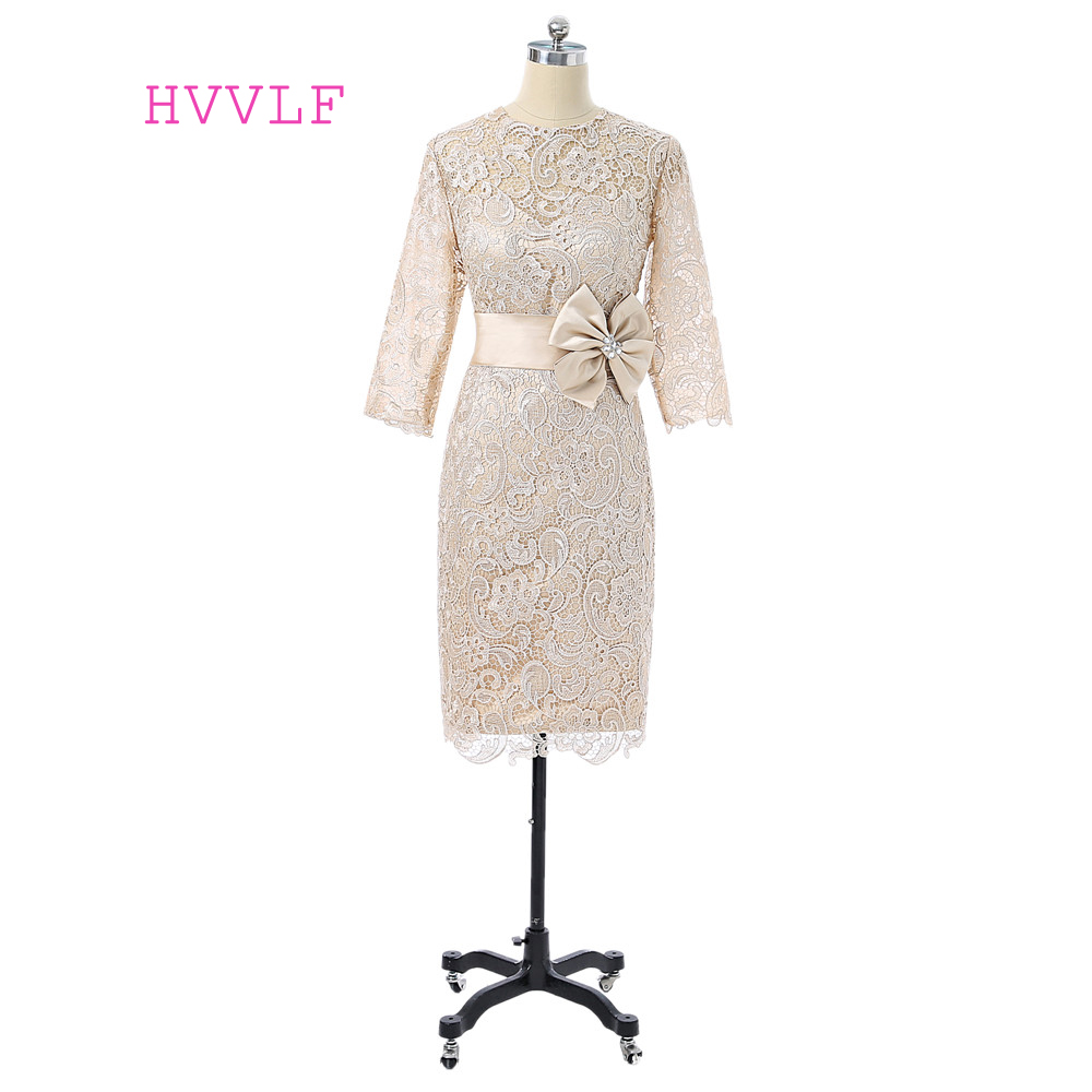 Champagne 2017 Mother Of The Bride Dresses Sheath 3/4 Sleeves Knee Length Lace Bow Plus Size Groom Mother Dresses For Wedding