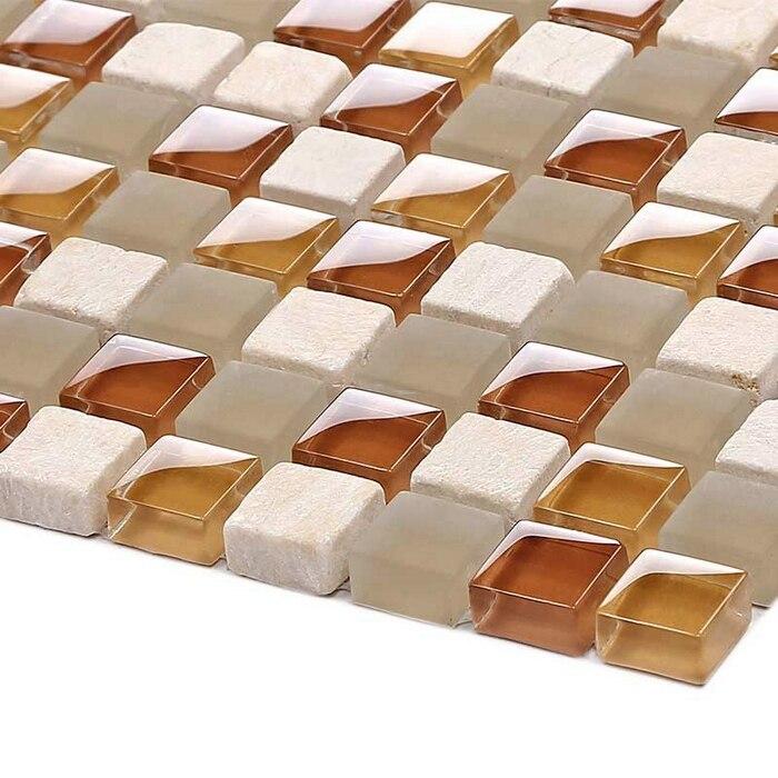 plaza de matt ormarble mezcla brillante de cristal claro de piedra azulejos de mosaico de azulejo