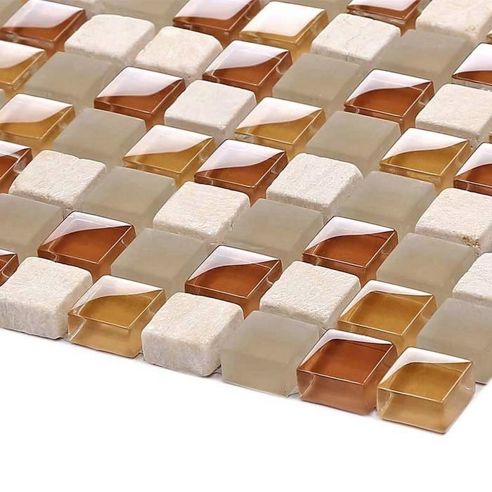 Square Matt Clear Glass Mixed Glossy Ormarble Stone For Kitchen Backsplash Tile Bathroom Shower