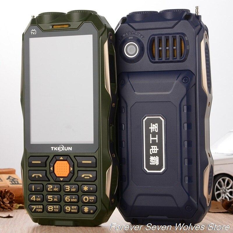 Originais TKEXUN Q8 TV Analógica Grande Bateria Do Telefone Banco de Potência Ceia Dupla Lanterna 3.5 polegada Tela Sensível Ao Toque Celular Dual Sim celular