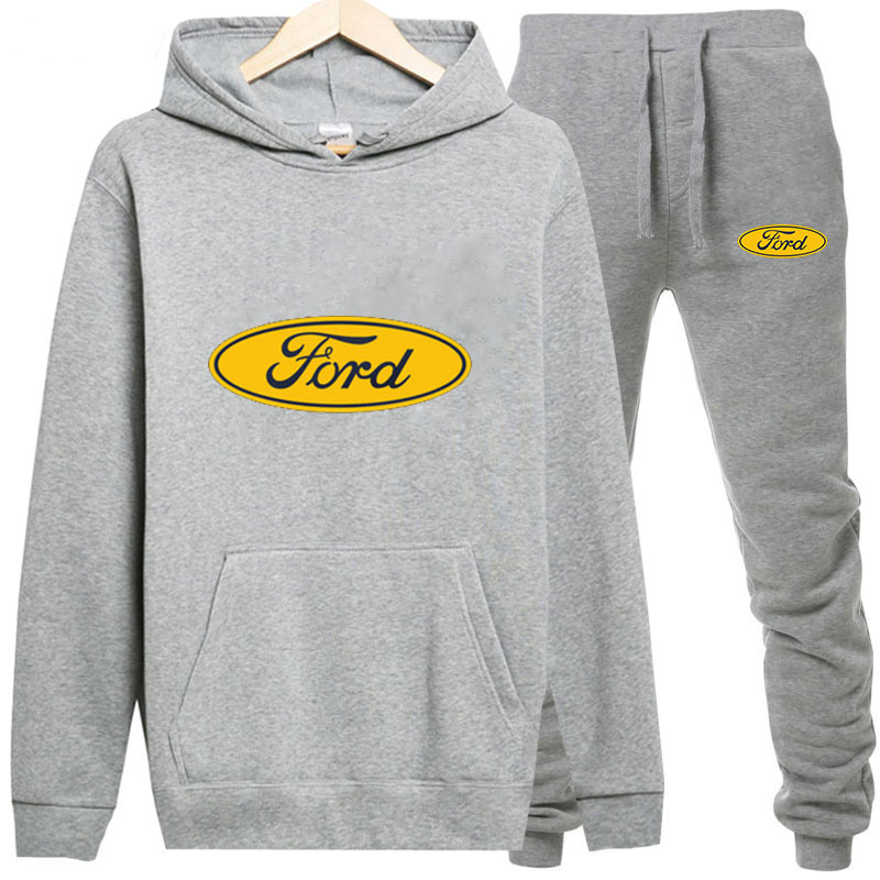 Sweatshirts+Sweatpants Suits Ford Print Hoodie Men/Women Pant Hoodies Spring Autumn Warm Fleece Hooded Pullover Outdoor