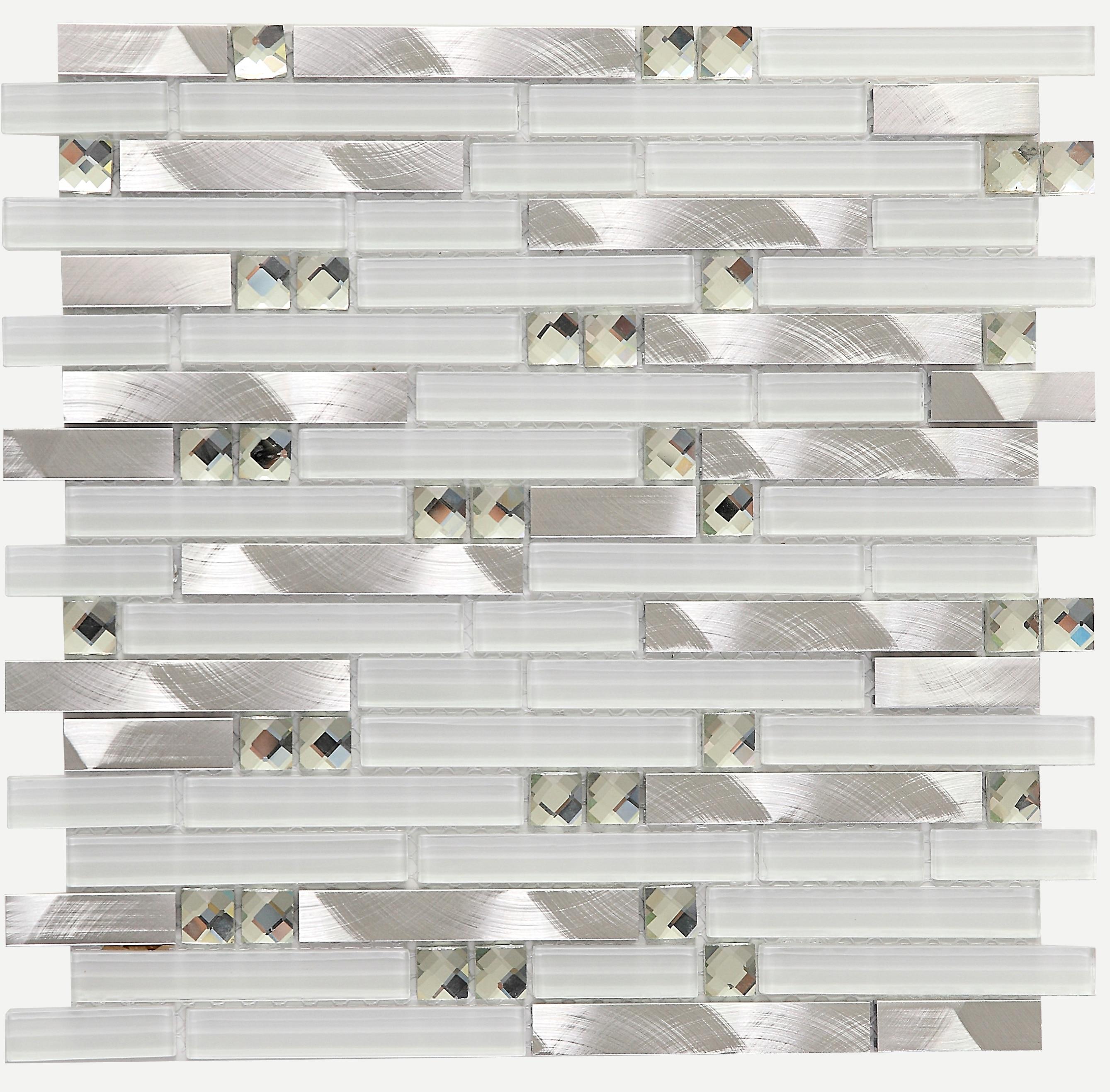 - Strip White Glass Diamond Kitchen Backsplash Tiles,LSGM02