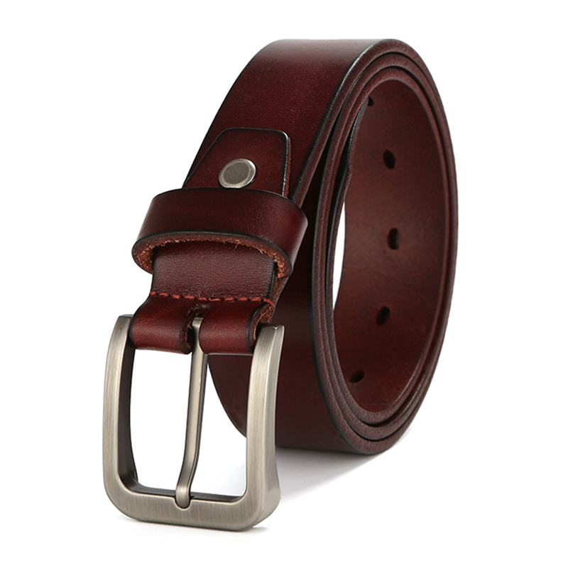 Best Quality 100% Genuine Leather Man Belt Cowskin Full Grain Leather Waist Belts For Male Brown Straps Pin Buckle Hole Belt