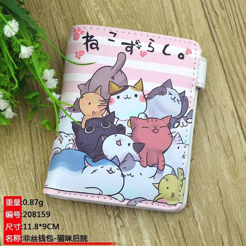 Кожаные Кошельки на кнопке аниме Neko Atsume, держатель для карт, кошелек, новинка, распродажа, цветной короткий кошелек для монет для мальчиков и девочек, подарок|Кошельки|   | АлиЭкспресс
