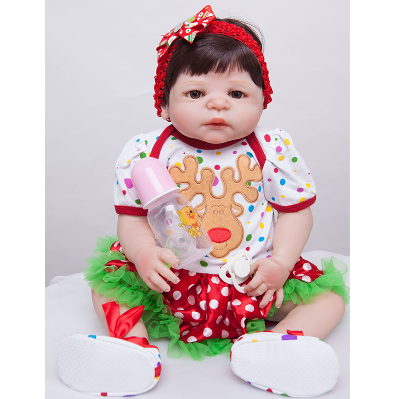 55cm Full Silicone Reborn Baby Doll Toy For Sale 22inch Newborn Princess Toddler Babies Alive Doll With Pacifier Girl Bonecas pink wool coat doll clothes with belt for 18 american girl doll