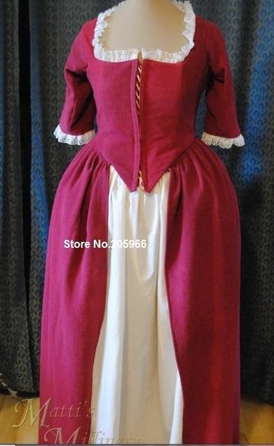 Freies Verschiffen NACH Kolonial. Jahrhundert Rokoko Kleid Kleid ...