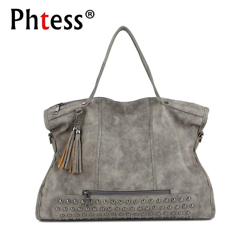 2018 Vintage Large Capacity Women Tote Bags Big Female Shoulder Bag Rivet Leather Handbags Women Bags Designer Brand Luxury Sac