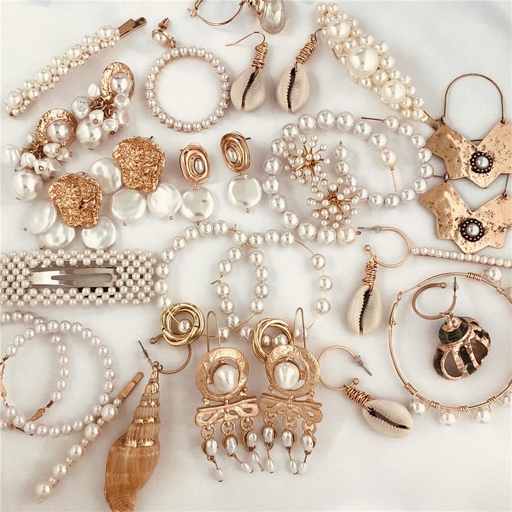 JUJIA Unique Irregular Shell Earrings For Women Statement Za Geometric Pearl Drop Earrings Fashion Jewelry Party Gift