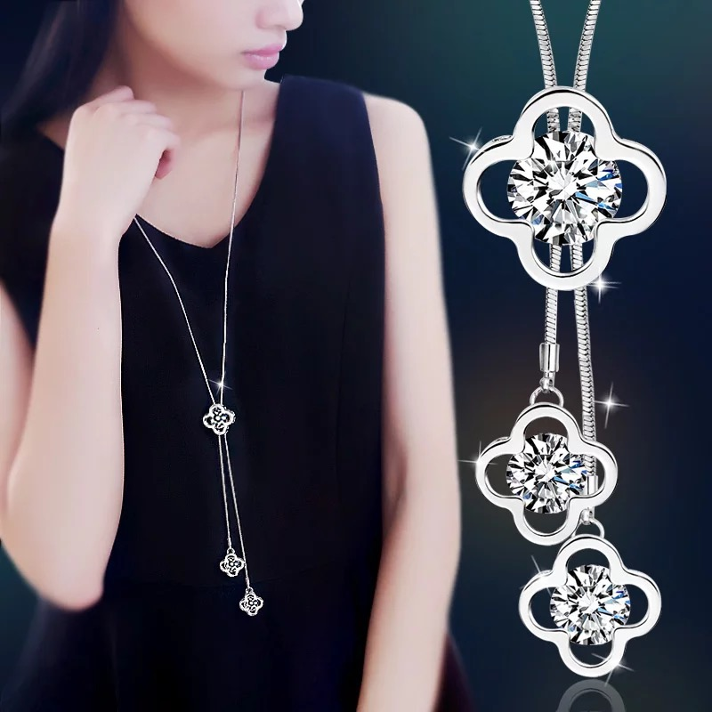 BYSPT Wanita Kalung Loket Hollow 4 Daun Kristal Perenggan Sweater Chain Crystal Long Necklace Pendant