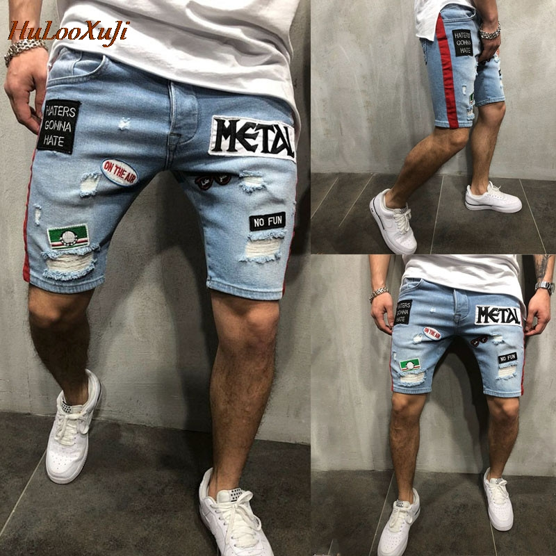 HuLooXuJi Men Summer Denim Shorts Male Jeans Shorts Jogger Washed Hole Embroidery Jeans US Size:S-2XL