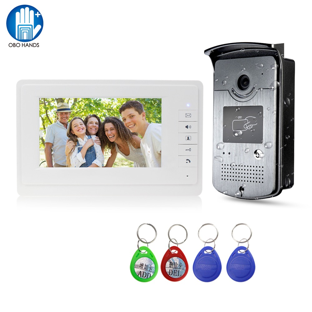 Wired Video Intercom System Door Phone Doorbell Rainproof Outdoor Camera with 7inch Monitor Display High definition