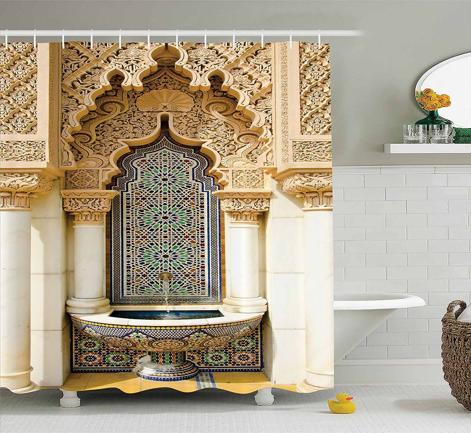 Moroccan Decor Shower Curtain Vintage Building Design Polyester Fabric Bathroom Shower Curtain Set with Hooks