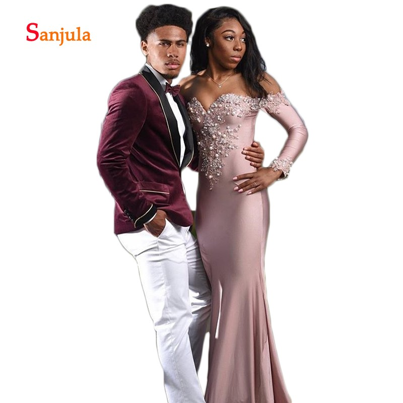 Pink Spandexy Black Girls   Prom     Dresses   Sweetheart Long Sleeve Formal Night Party   Dresses   2019 Pealrs Leg Slit Graduation D700