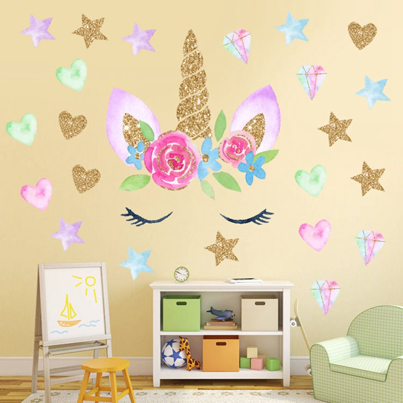 Colorful Flower Animal Unicorn Wall Sticker 3D Art Decal Sticker Child Room Nursery Wall Decoration Home Decor