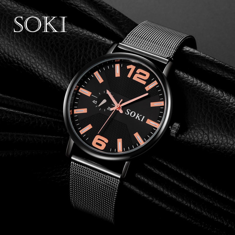 Unisex Fashion Quartz Watch Retro SOKI Concise Mesh Strap Multicolor Black Rose Gold Round Leisure Relogio Feminino