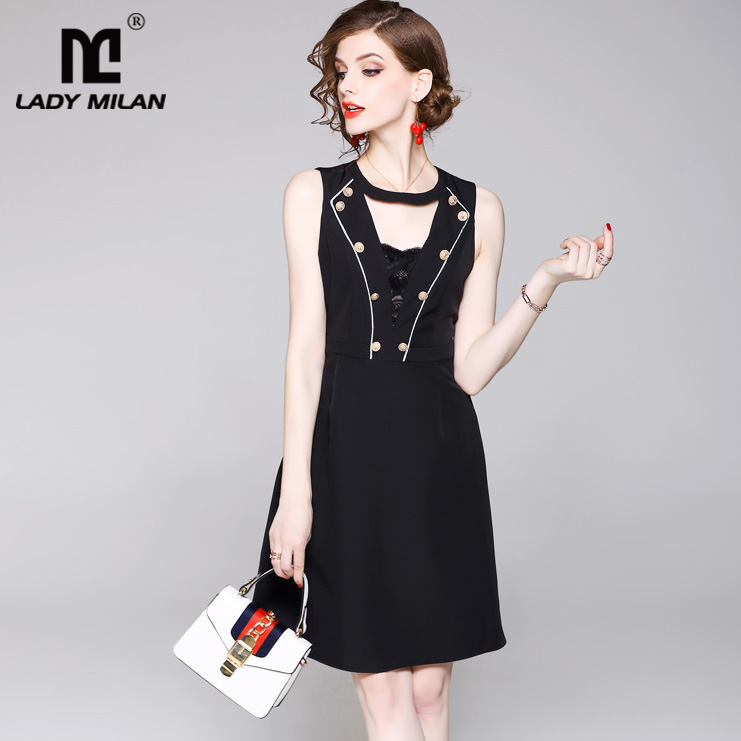 New Arrival 2018 Womens O Neck Sexy Keyhole Buttons Detailing Fashion Casual Little Black Dresses