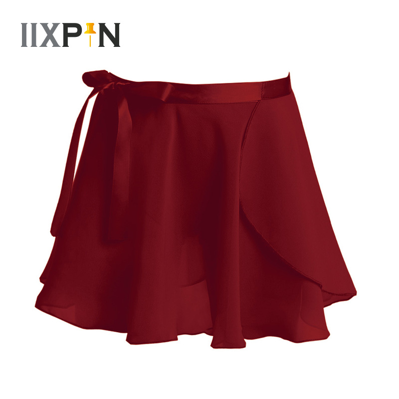 IIXPIN Girls Ballet Wrap Skirt Kids Dance Skate Over Scarf Tutu Skirts Chiffon Basic Classic Pull-On Wrap Skirt With Waist Tie