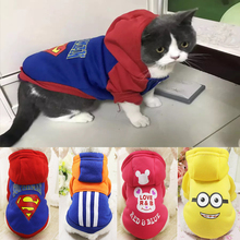 Winter Warm Soft Cat Jacket Coat Cartoon Print Pet Hoodie Clothes For Small Cats Outfit Clothing Kitten Puppy Dog Costume