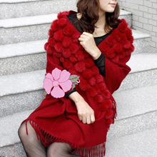 real fur shawl women winter fur caps cashmere scarves poncho natural sheep neck warmer with natural rabbit fur pompom wrap stole