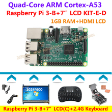Best price Raspberry Pi 3 Model B+7″ HDMI LCD 1024*600 +2.4G Keyboard+ Clear Case+Fan+Power+Heat sink+HDMI Cable=Raspberry Pi 3 – B KIT-E-D